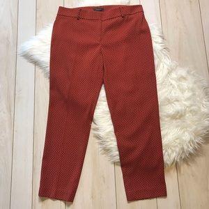 Ann Taylor The Ankle Pant Orange Print Career Wear